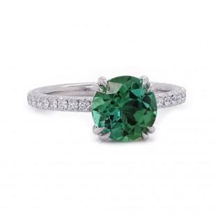 Estate Green Tourmaline and Diamond Ring