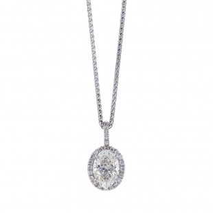 Oval Diamond Halo Pendant