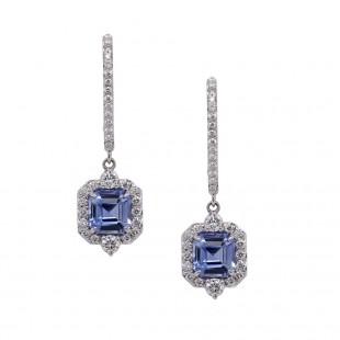 Sky Blue Asscher Cut Sapphire Drop Earrings
