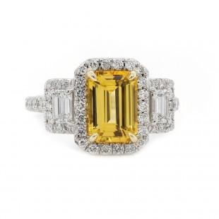 Yellow Sapphire Halo Ring