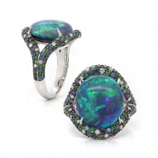 Black Opal Multi Color Ring