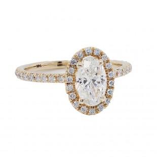 Oval Yellow Gold Diamond Halo Ring