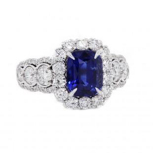 Cushion Blue Sapphire Halo Ring