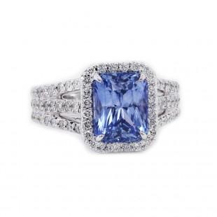 Sky Blue Radiant Sapphire Halo Ring