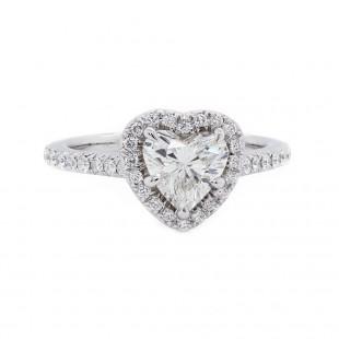 Heart Shaped Diamond Halo Engagement Ring