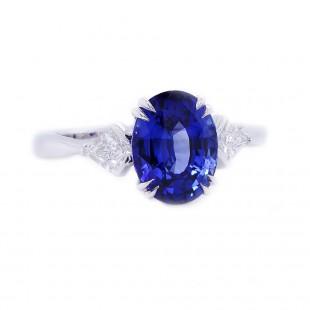 Blue Sapphire Three Stone Ring