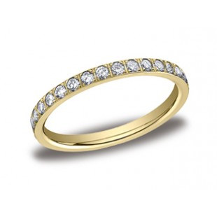 Yellow gold 2.0mm wide pave' diamond eternity band