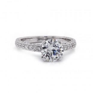 Three-sided bordered pave' diamond ring