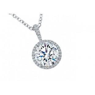 Pave' diamond halo round center pendant