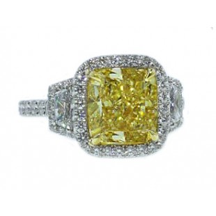 4.02ct fancy yellow cushion diamond pave' ring