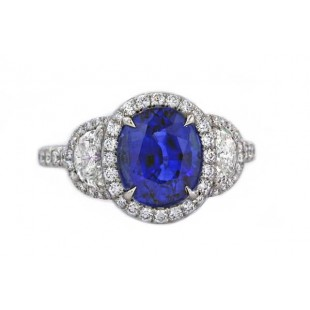 Sapphire and half-moon diamond Ring