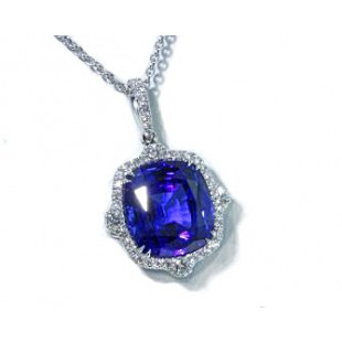 Custom cushion tanzanite diamond halo pendant