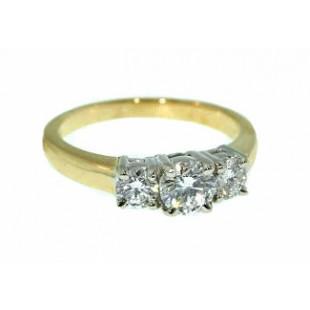 Three stone ring with three round diamonds