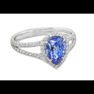 Blue Sapphire pear shape diamond halo ring