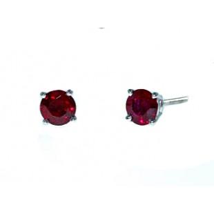 Round ruby solitaire earrings in white gold