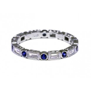 Blue sapphire and baguette diamond band