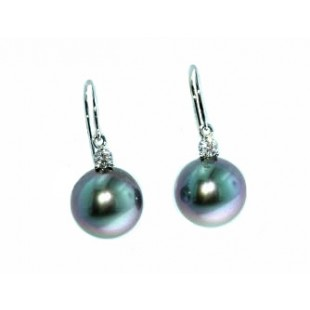 Black South sea's pearl and diamond drop earrings