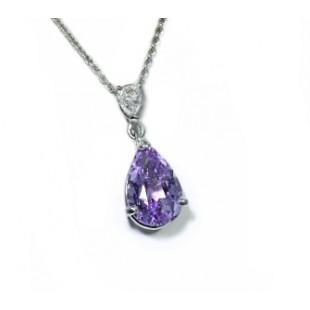 Lavendar spinel and pear diamond pendant