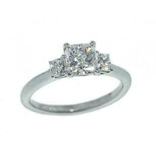 Three-stone cushion diamond platinum ring