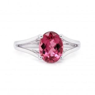 Pink Tourmaline Split Shank Ring