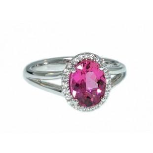 Hot pink toumaline and pave' diamond halo ring