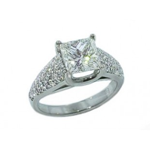 Princess cut diamond wide pave' tapering ring
