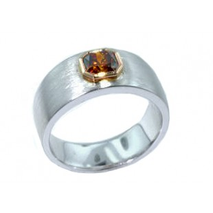Custom 18k fancy brown orange diamond ring