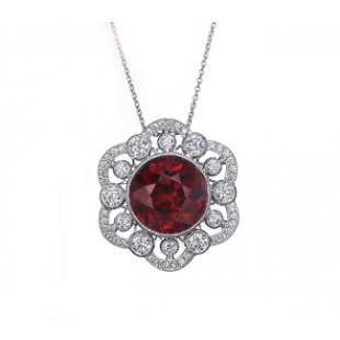 Custom design red Spinel diamond pendant