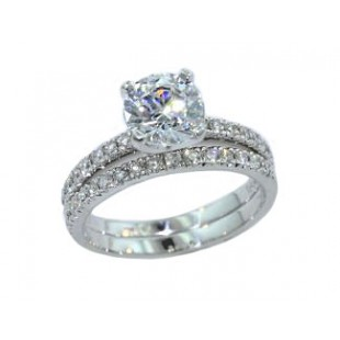 Pave' set diamond two piece wedding set