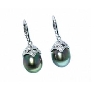 Peacock black south seas pearl diamond earrings