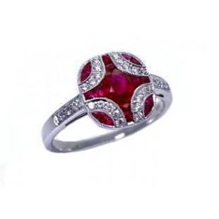 Ruby and diamond Art Deco design ring
