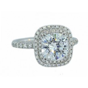 Double pave halo diamond engagement ring in white gold