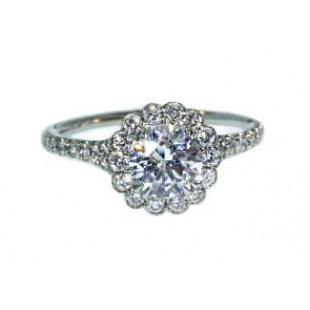 Bezel set diamond halo flower engagement ring