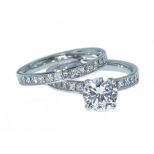 Channel set princess cut diamond wedding set