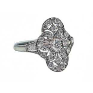 Antique design pierced floral pave' diamond ring