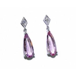 Pear drop Morganite and diamond earrings
