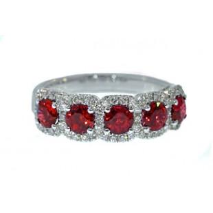 Ruby and diamond pave' border band