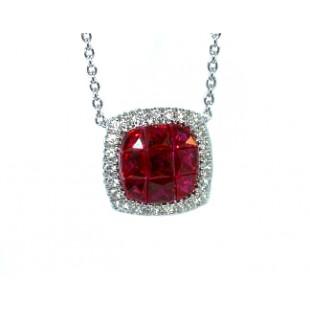 Seamless princess ruby and pave' diamond pendant