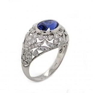 Blue Sapphire Pierced Filigree Ring