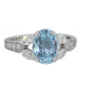 Aquamarine and marquise diamond white gold ring
