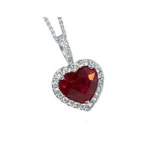 Heart Ruby Diamond Pendant