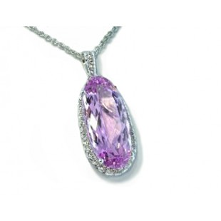 Oval Kunzite graduated pave' diamond halo pendant