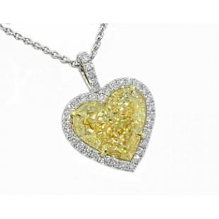 Fancy light yellow heart diamond pave' pendant