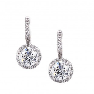 Pave' halo lever back dangle diamond earrings