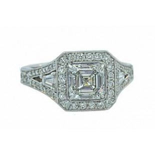 Custom asscher and baguette diamond pave' ring