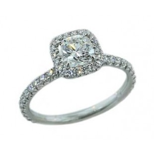 Cushion cut diamond with pave' halo ring