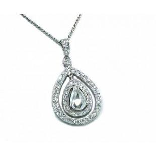 Double pave' halo rose cut diamond teadrop pendant