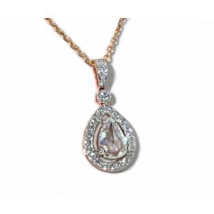 Rose gold rose cut diamond pave' teadrop pendant