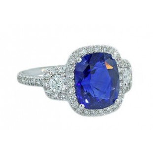 4.54ct cushion sapphire diamond pave halo ring