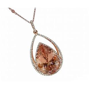 27ct Morganite diamond pave' halo pendant